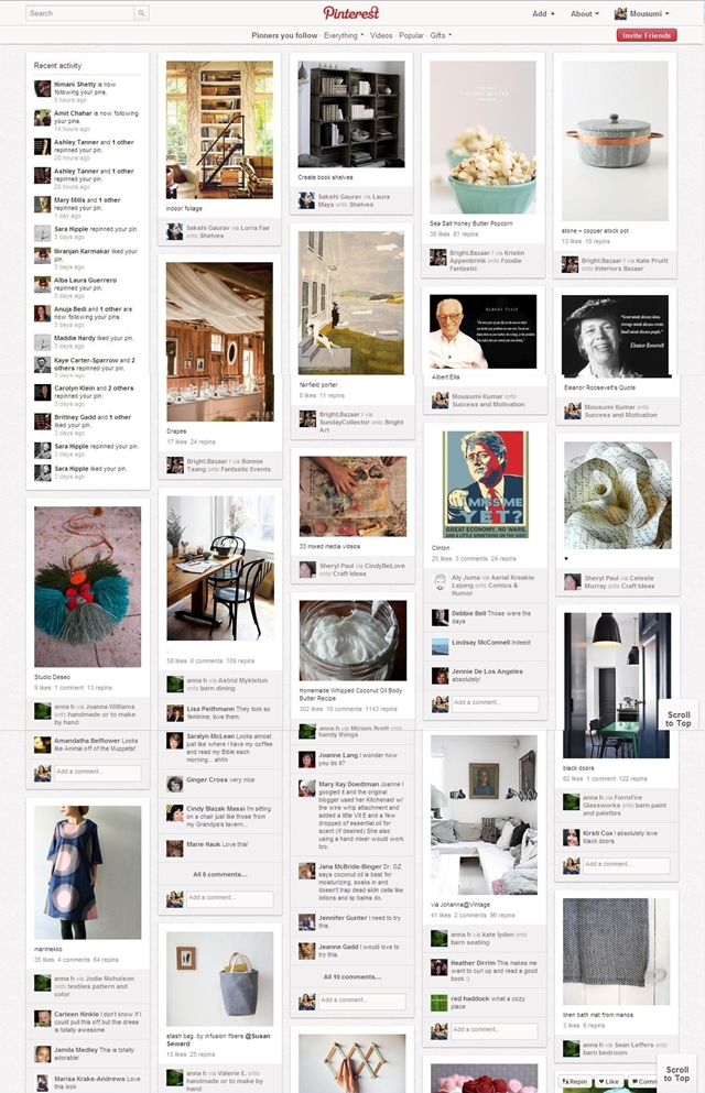 typical pinterest page